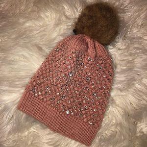 Windsor Pink diamond faux fur Beanie